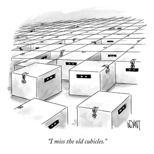 Lost Drawing - An Office  Full Of Locked Boxes With Eyes Looking by Christopher Weyant