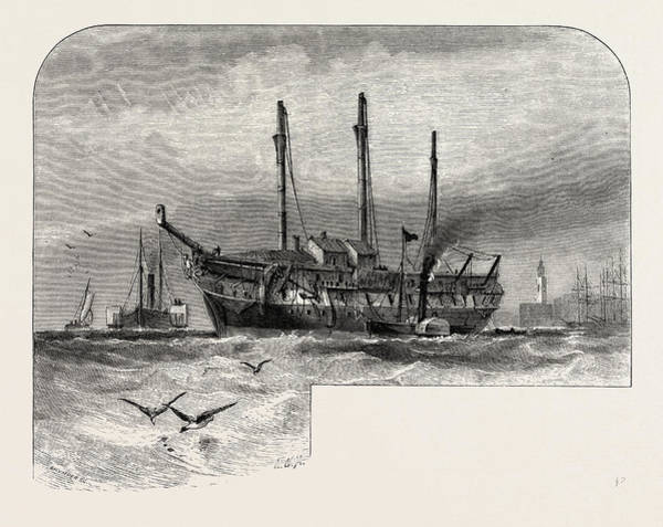 Old Style Drawing - An Old Hulk In The Thames, Uk, Britain, British by English School