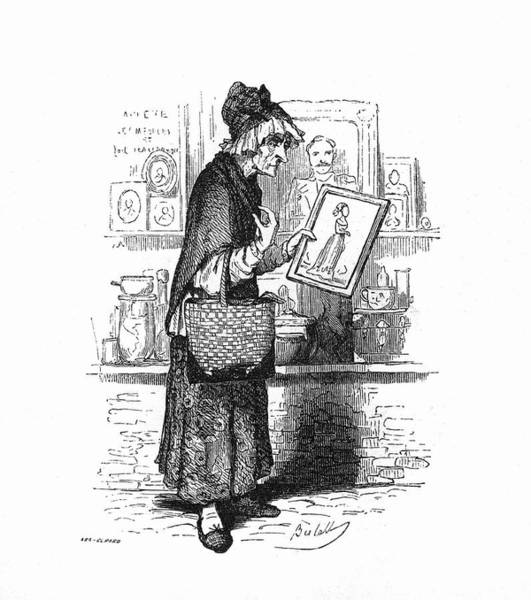 Crone Wall Art - Drawing - An Old Lady Buying A Picture Of A Young by Mary Evans Picture Library
