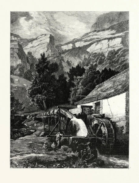 Old Style Drawing - An Old Mill In The Jura Mountains. Mountains by C.e. Dubois, 19thcentury, American