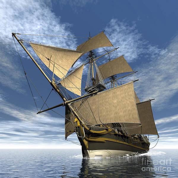 Schooner Digital Art - An Old Sailing Ship Navigating by Elena Duvernay