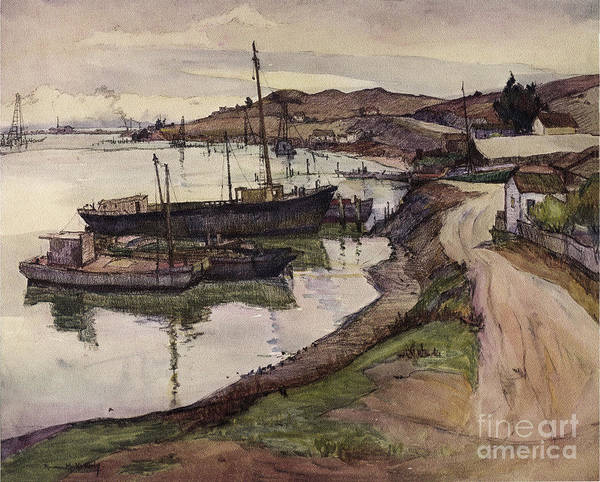Photograph - An Old Waterside Lane Along San Francisco By Bay Rowena Meeks Abdy Early California Artist C 1906 by California Views Archives Mr Pat Hathaway Archives