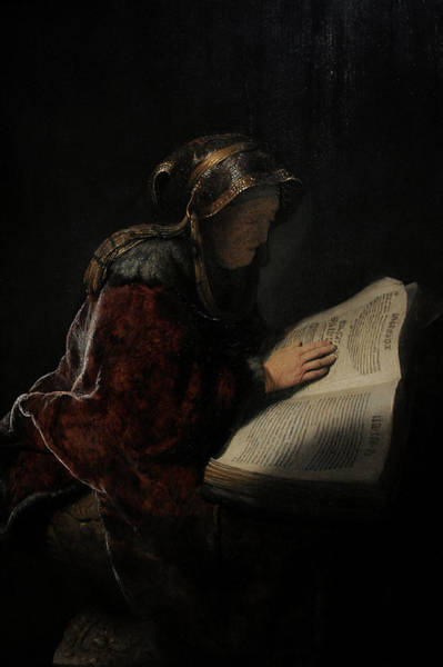 Wall Art - Photograph - An Old Woman Reading, Probably The Prophetess Hannah, 1631, By Rembrandt 1606-1669 by Bridgeman Images