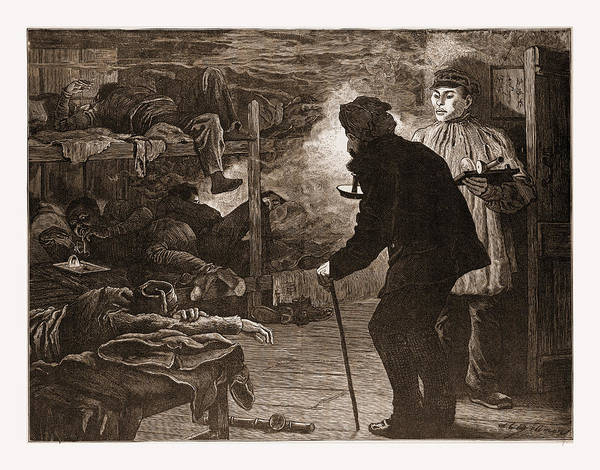 An Opium Den In A Chinese City, 1880, 19th Century Engraving Art Print