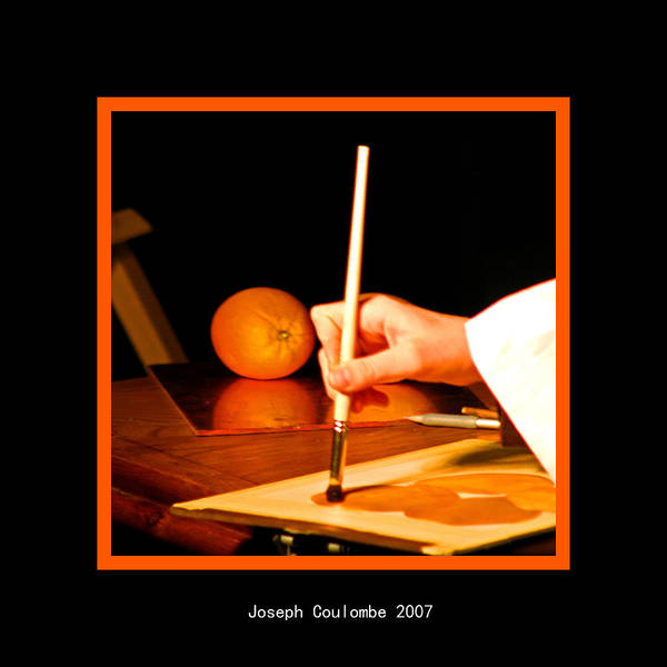 Digital Art - An Orange And A Brush by Joseph Coulombe