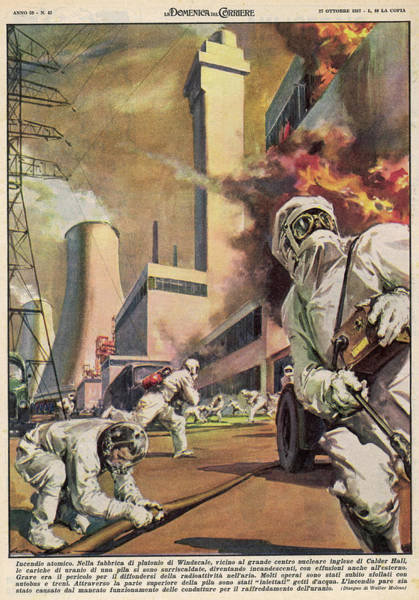 Gas Station Drawing - An Outbreak Of Fire At  Windscale by Mary Evans Picture Library
