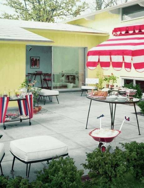 Outdoor Furniture Photograph - An Outside Area Set Up For A Party by Haanel Cassidy