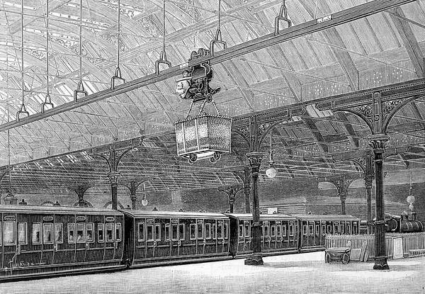 Manchester Drawing - An Overhead Transporter Carries Goods by Mary Evans Picture Library