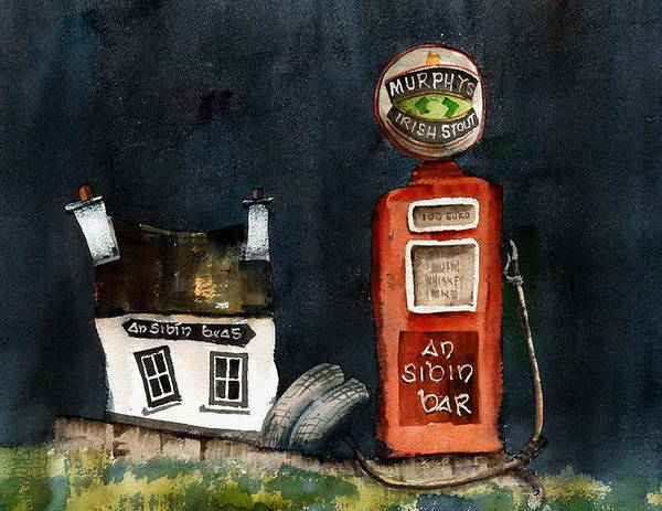Painting - An Sibin Bar Lauragh Kerry by Val Byrne