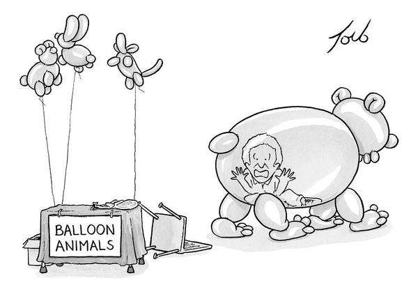 June 24th Drawing - An Unattended Table Has A Sign That Says Balloon by Tom Toro