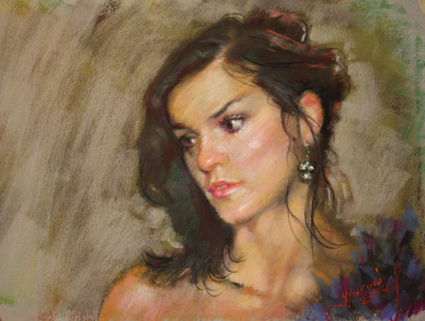 Pretty Wall Art - Pastel - Ana With An Earring by Ylli Haruni