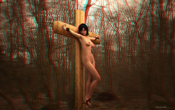 Croce Digital Art - Anaglyph Crucifix In The Autum by Ramon Martinez