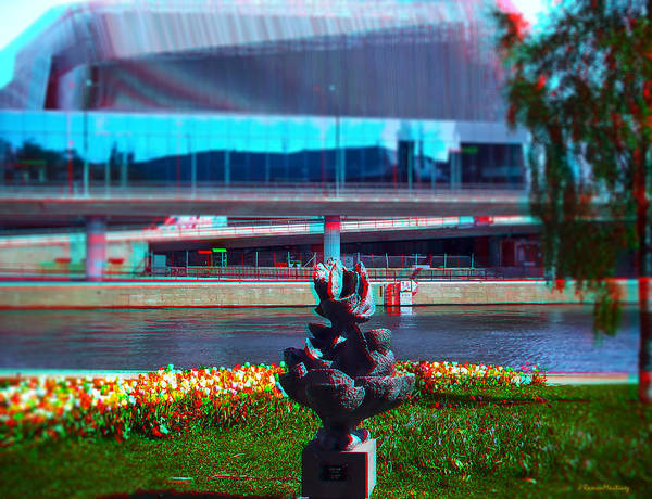 Anaglyph Photograph - Anaglyph Modern Sculpture by Ramon Martinez
