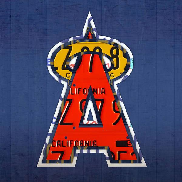 Wall Art - Mixed Media - Anaheim California Angels Vintage Baseball Logo License Plate Art by Design Turnpike