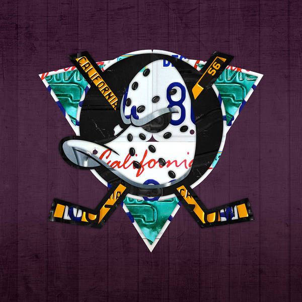 Wall Art - Mixed Media - Anaheim Ducks Hockey Team Retro Logo Vintage Recycled California License Plate Art by Design Turnpike
