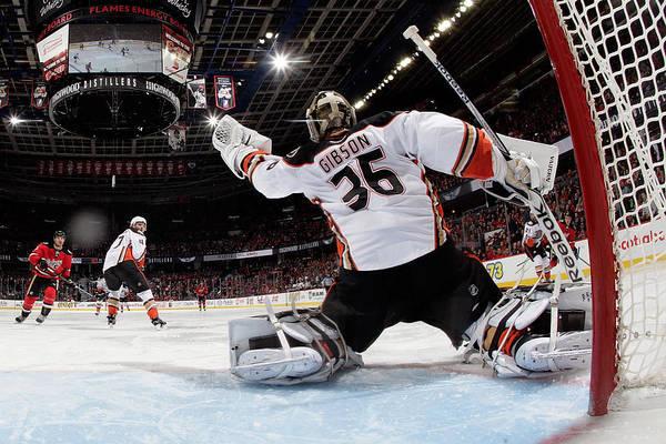 National Hockey League Photograph - Anaheim Ducks V Calgary Flames by Gerry Thomas