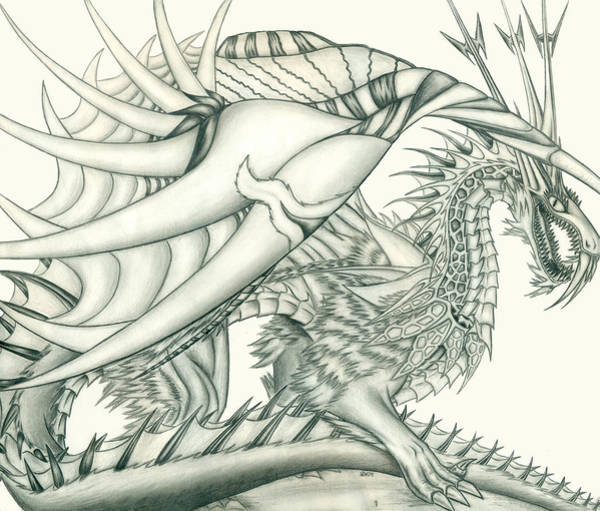 Demonic Drawing - Anare'il The Chaos Dragon by Shawn Dall
