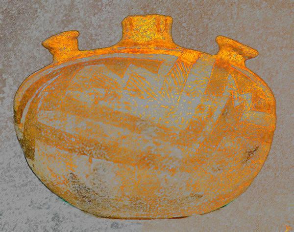 Anasazi Painting - Anasazi Bowl Dual Handles by David Lee Thompson