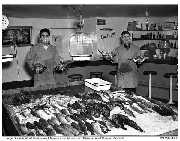 Photograph - Anastasia Fishermans Wharf Sea Food Monterey Circa 1950 by California Views Archives Mr Pat Hathaway Archives