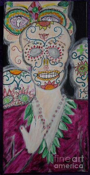 B. Melusine Mihaltses Wall Art - Painting - Ancestral Layers Our Catrina Guardians by B Melusine Mihaltses