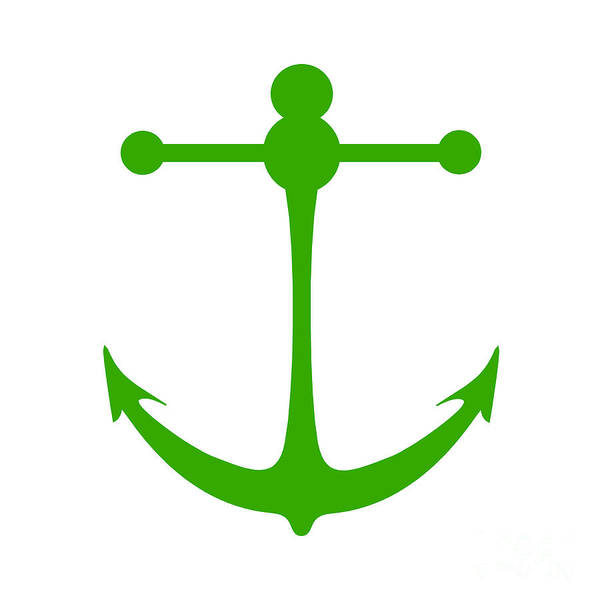 Parts Of A Boat Digital Art - Anchor In Green And White by Jackie Farnsworth