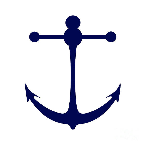 Parts Of A Boat Digital Art - Anchor In Navy And White by Jackie Farnsworth