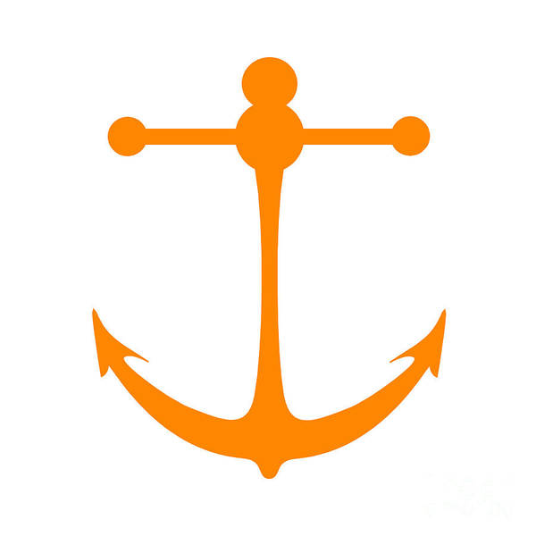 Parts Of A Boat Digital Art - Anchor In Orange And White by Jackie Farnsworth