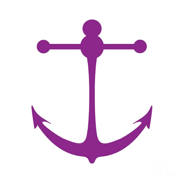 Parts Of A Boat Digital Art - Anchor In Purple And White by Jackie Farnsworth