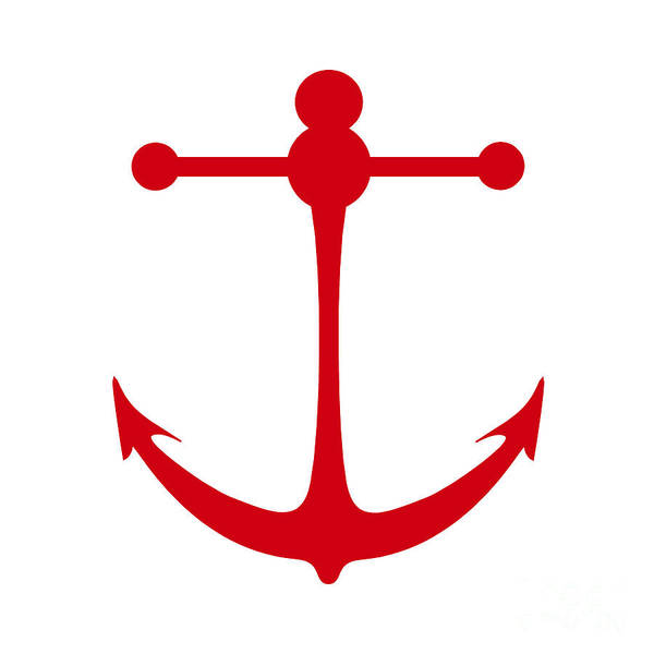 Parts Of A Boat Digital Art - Anchor In Red And White by Jackie Farnsworth