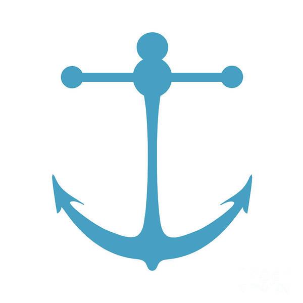 Parts Of A Boat Digital Art - Anchor In Turquoise And White by Jackie Farnsworth