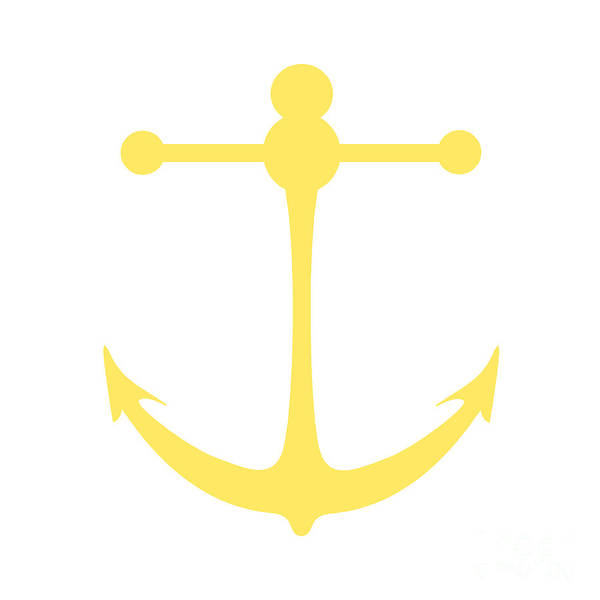 Parts Of A Boat Digital Art - Anchor In Yellow And White by Jackie Farnsworth