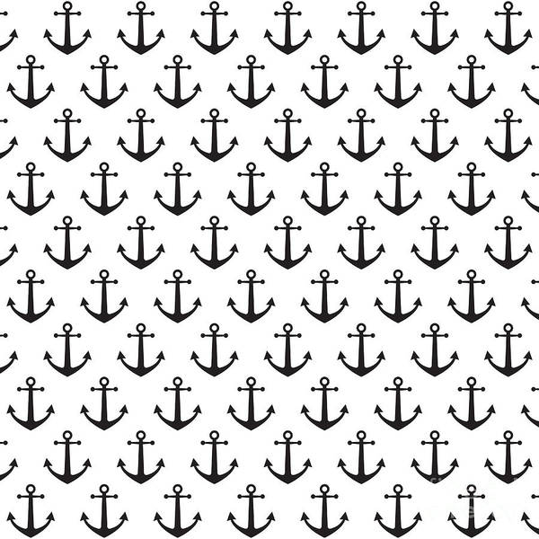 Naval Wall Art - Digital Art - Anchor Pattern Background by Hellena13