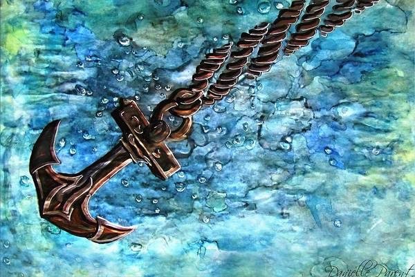 Painting - Anchor Under Water Alcohol Inks by Danielle  Parent