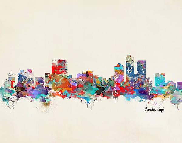 Throws Painting - Anchorage Alaska Skyline by Bri Buckley