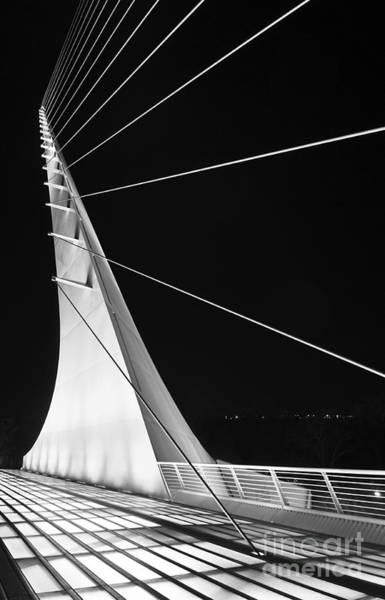 Cable-stayed Bridge Photograph - Anchored Sail - The Unique Sundial Bridge In Redding California. by Jamie Pham