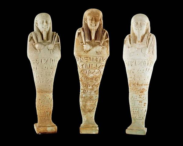 Hieroglyph Photograph - Ancient Egyptian Funerary Figurines by Petrie Museum Of Egyptian Archaeology, Ucl