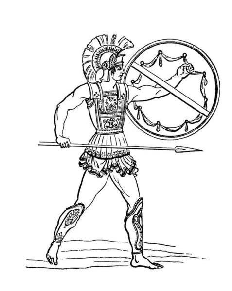 Shield Photograph - Ancient Greek Warrior by Bildagentur-online/th Foto/science Photo Library