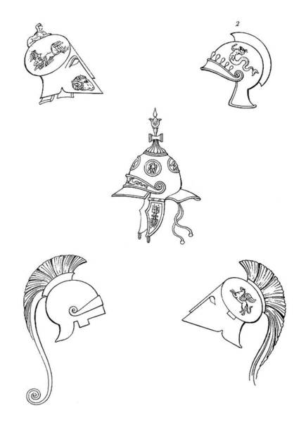 Wall Art - Drawing - Ancient Helmets by Granger