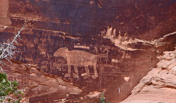 Photograph - Ancient Hunters Petroglyph In Utah by Jean Clark