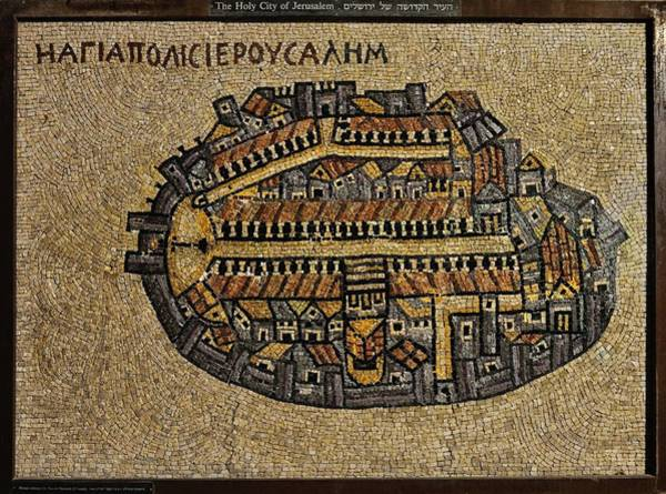 Photograph - Ancient Jerusalem Mosaic Map Color Framed by Mark Fuller