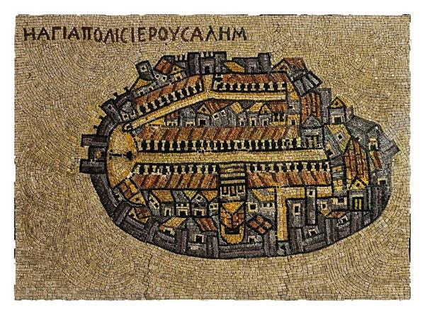 Photograph - Ancient Jerusalem Mosaic Map Color by Mark Fuller