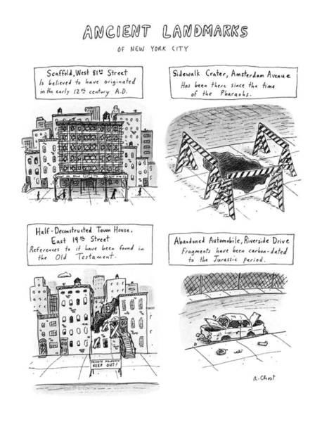 Landmark Drawing - Ancient Landmarks Of New York City by Roz Chast
