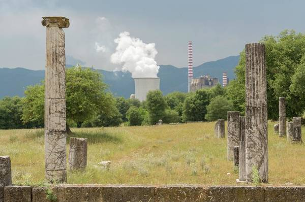 Ancient Megalopolis And Coal Powerplant. Art Print by David Parker/science Photo Library
