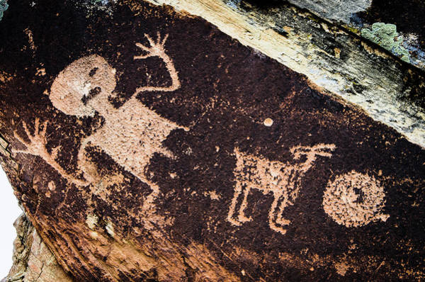 Etched Photograph - Ancient Native American Petroglyphs by Jerry Ginsberg
