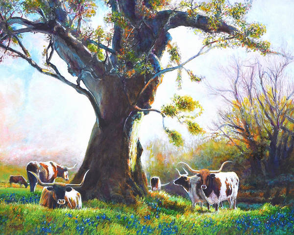 Longhorn Painting - Ancient Oaks And Bluebonnets And Longhorns by Charles Wallis