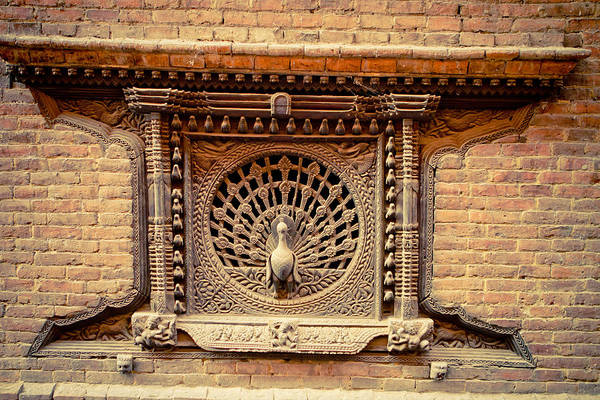 Photograph - Ancient Peacock Window Bhaktapur Nepal by Raimond Klavins