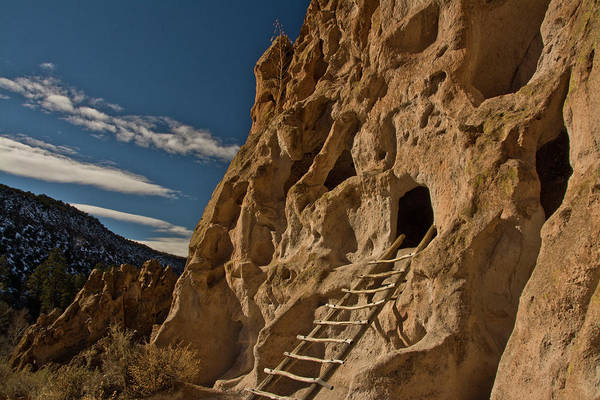 Abode Photograph - Ancient Pueblo, Reconstructed Ladder by Michel Hersen