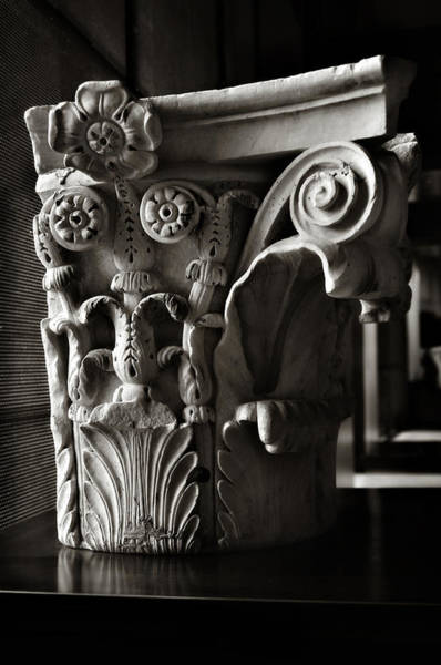 Solidity Photograph - Ancient Roman Column In Black And White by Angela Bonilla
