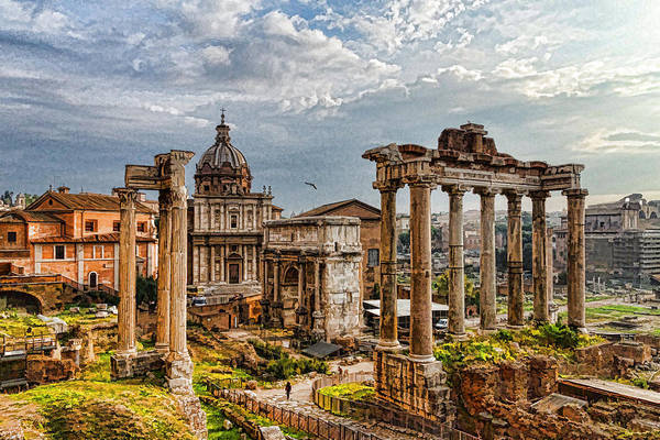 Digital Art - Ancient Roman Forum Ruins - Impressions Of Rome by Georgia Mizuleva