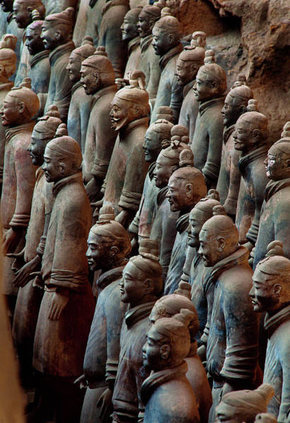 Wall Art - Photograph - Ancient Soldier Statues Stand At Front by O. Louis Mazzatenta